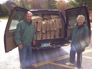 Kathy Hagerman, president and her husband Randy packed and ready to deliver layettes.